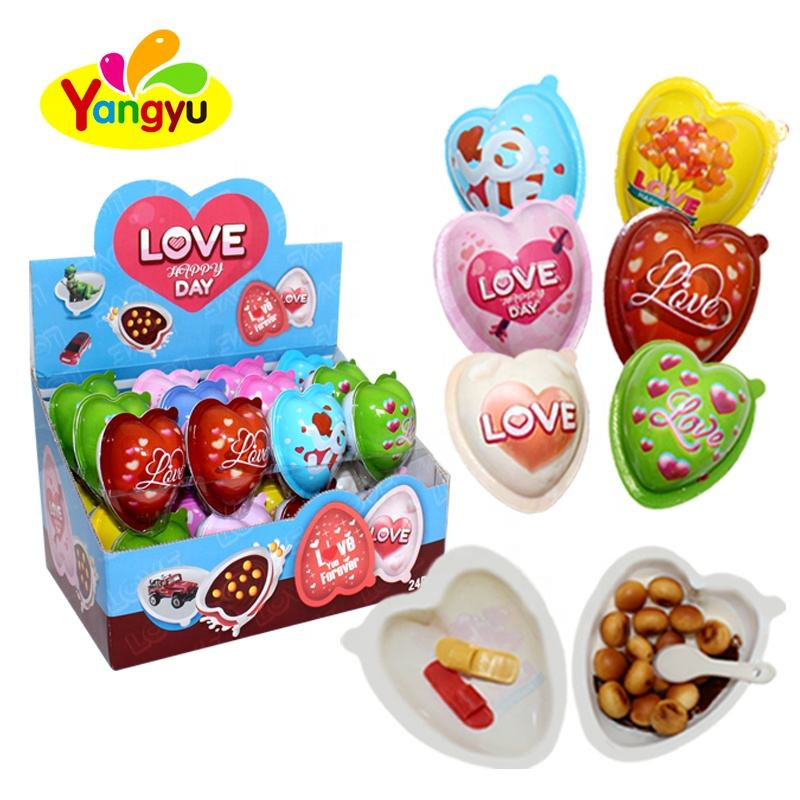 Valentine's Day Candy Sweet Surprise Heart Shape Chocolate Biscuit With Toy
