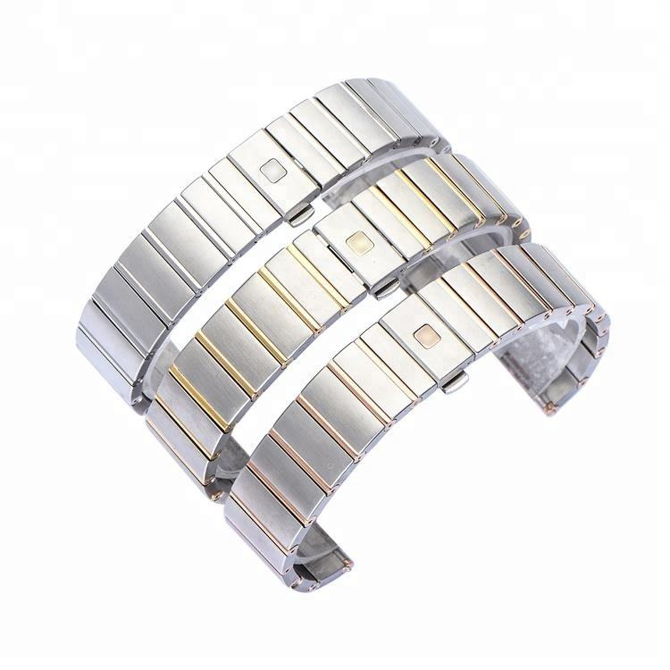 Brushed Gold Silver Rose Gold Mixed Stainless Steel Metal Watch Band Strap 18mm with Steel Folding buckle