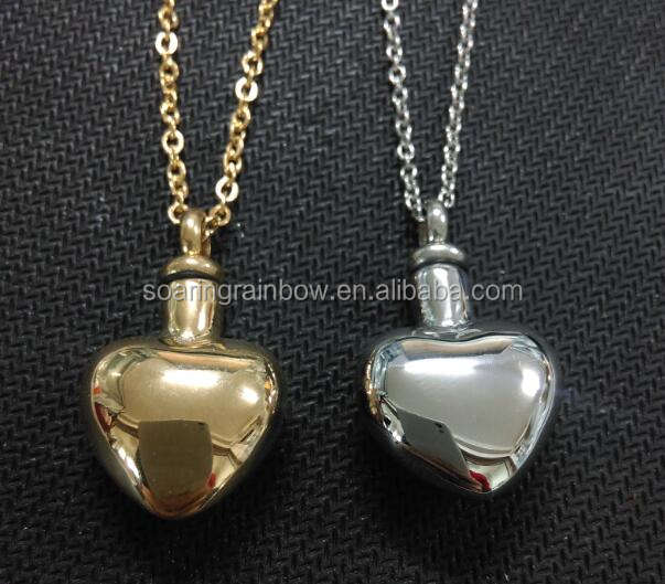 custom cremation jewelry Plain Heart Urn Pendant Necklace Cremation Jewelry For Ashes Stainles Steel