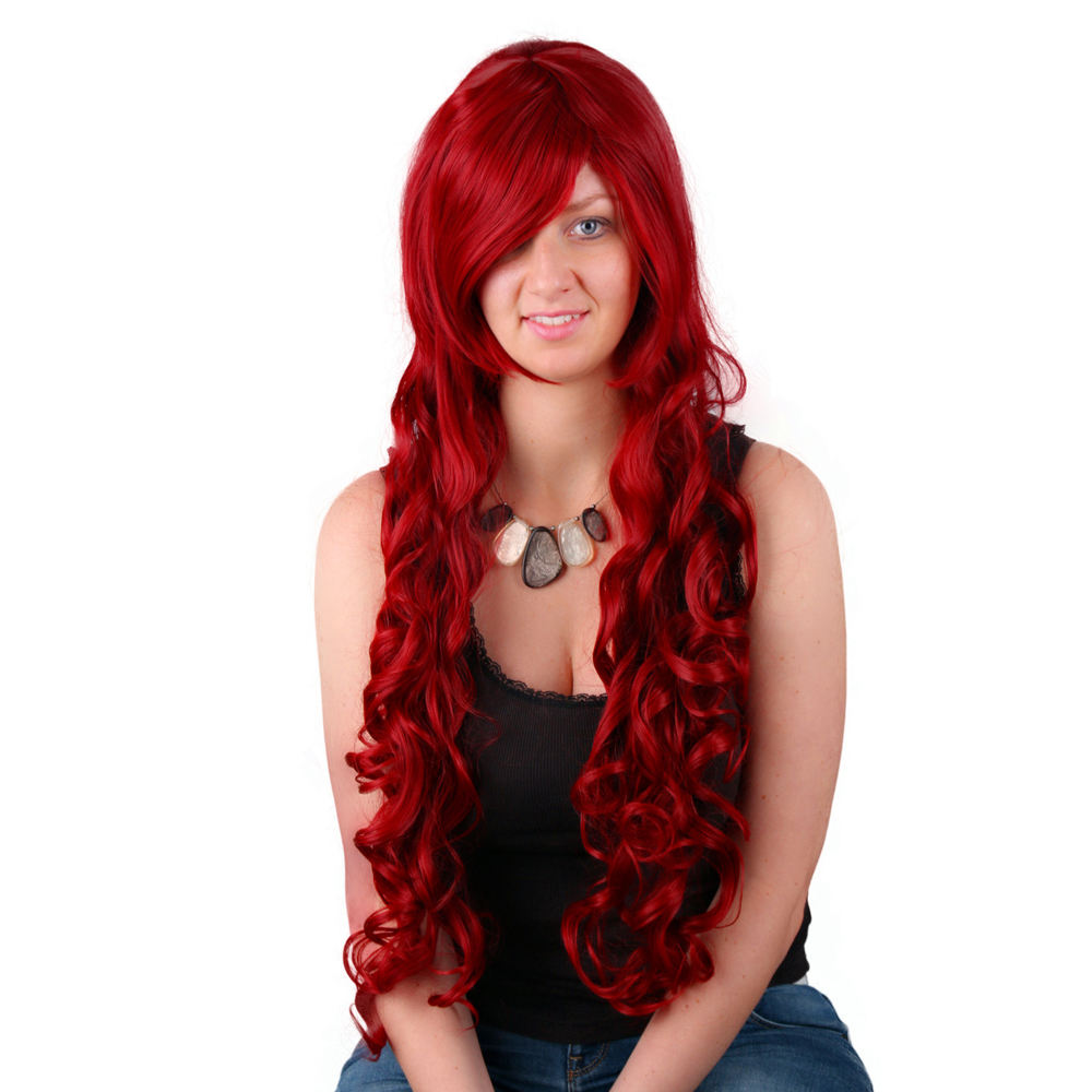 New Fashion 70cm Manufacturer Halloween Party Costume Women Long Curly Wavy Full Wigs synthetic Hair Party Cosplay Wig