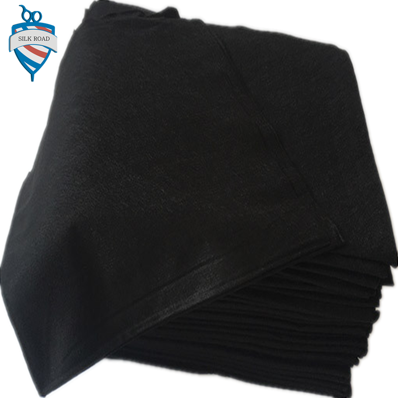 Non woven cotton spunlace 100% viscose disposable black towel for barber shop hotel salon