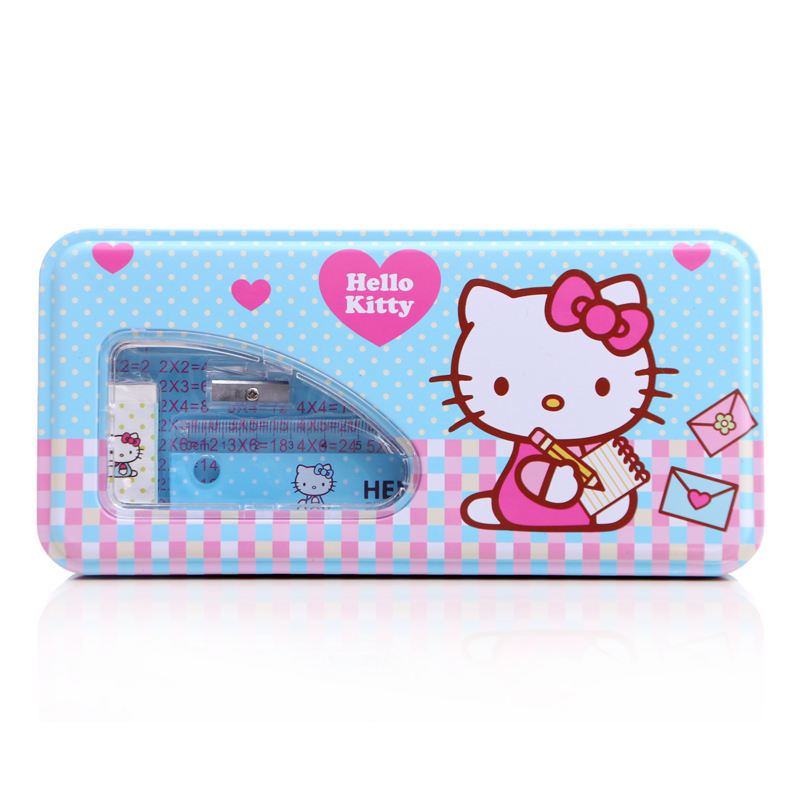 TOPSTHINK Cheap Hello kitty cute pencil case kids stationery set gift