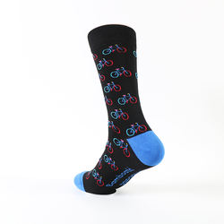 Wholesale cheap comfortable men happy dress bamboo crew sock with colorful biking pattern