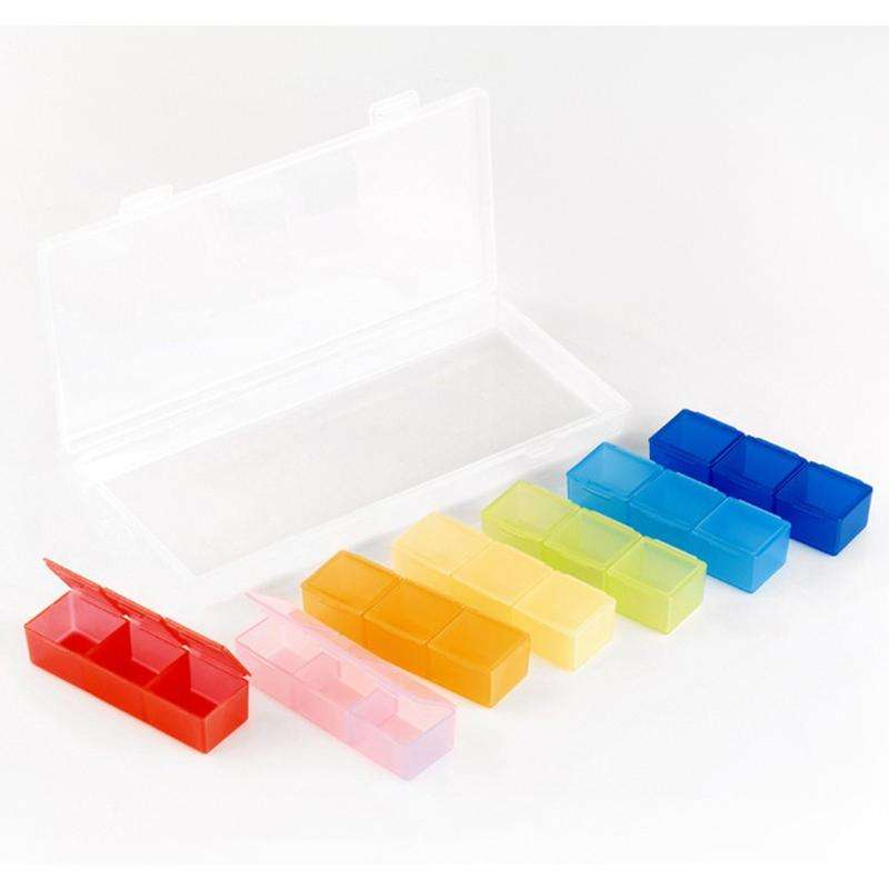 Dropshipping 7-color Pill storage box 21 grid rainbow medicine box rainbow medicine box