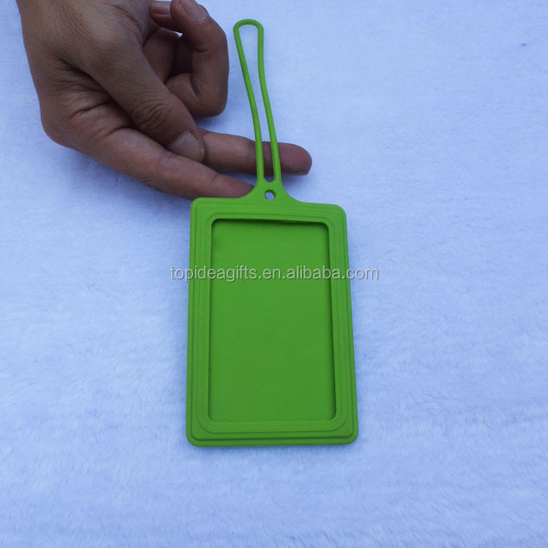3D Logo silicone rubber travel luggage tags with Plastic Buckle