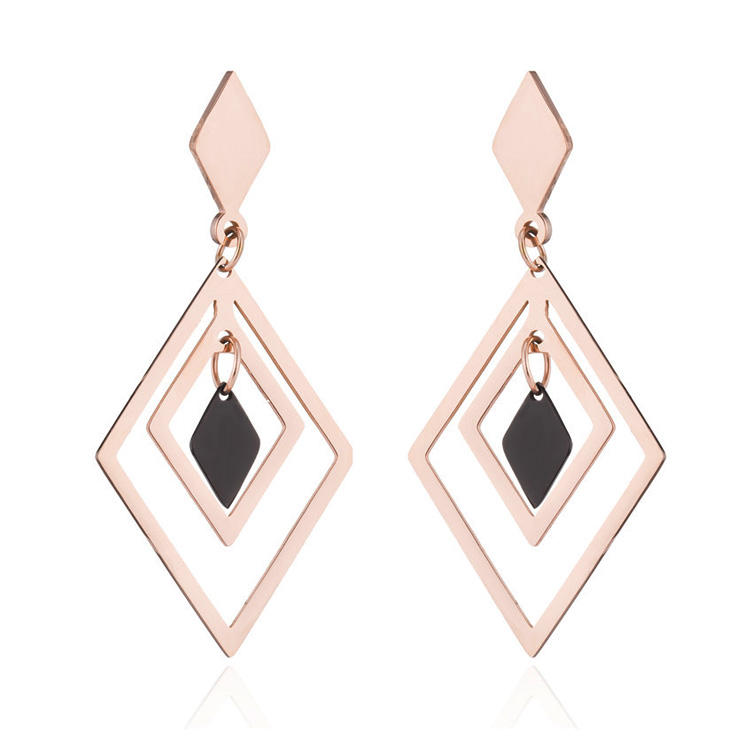 Stainless Steel Fashion Trending Rose Gold Earrings Drop Geometric