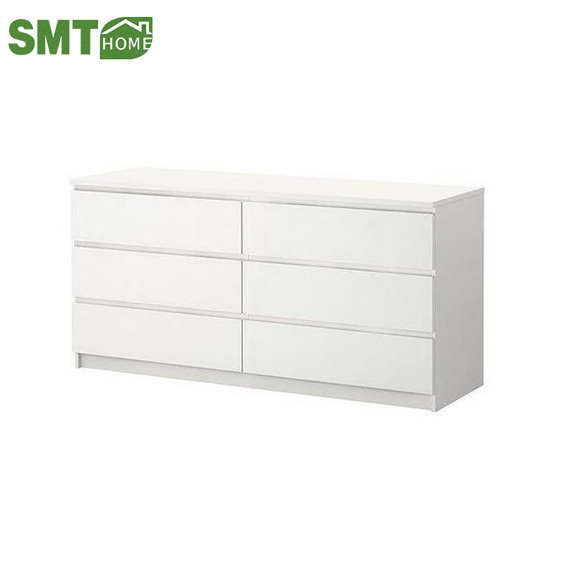 Cheap white wooden cabinet 6 drawer chest of drawer