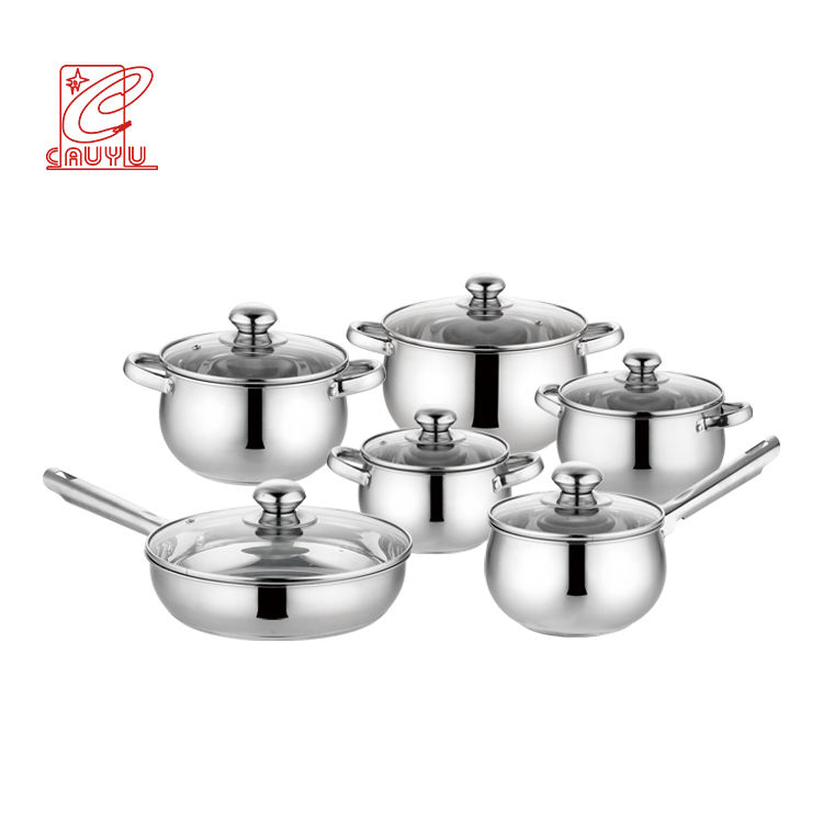 12 piece microwave safe induction kitchen ware cooking pot utensil cookware set with glass lid