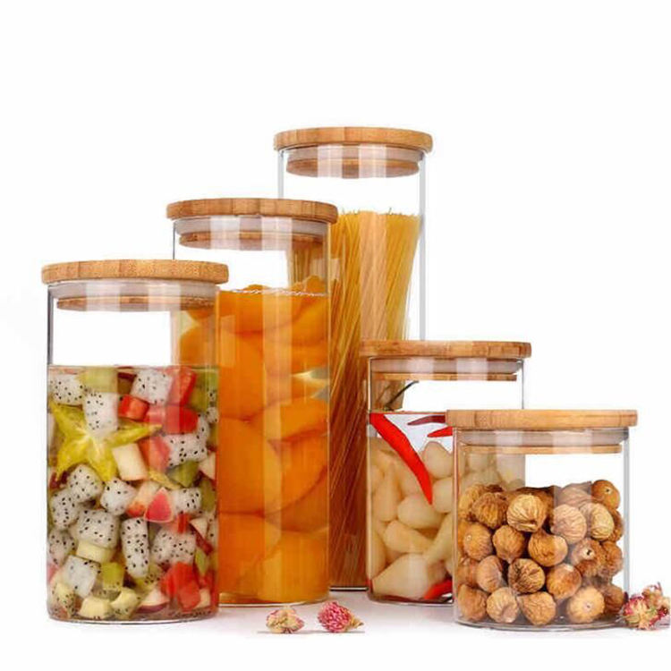 Wholesale glass storage jar with bamboo lid for kitchen