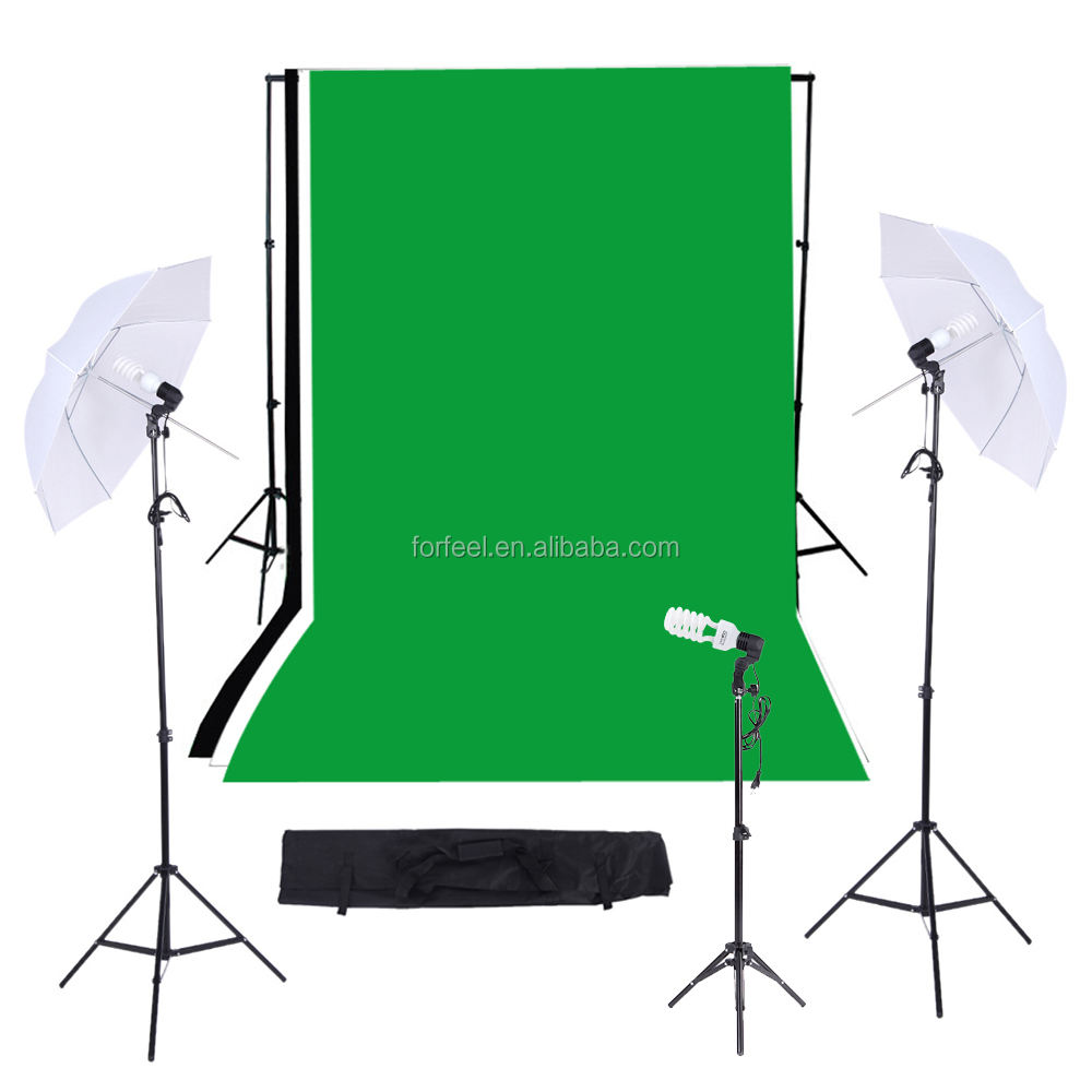 Photographic equipmet/Photo Studio Lighting Kit with Black/White/Green Muslins Backdrops Background Soft box Support System