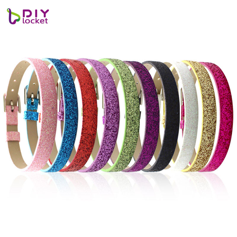 Wholesale Pu Leather Glitter Bracelets Diy Personalized 8mm Wristband With Slide Letter Charm , Bulk Custom Bracelet