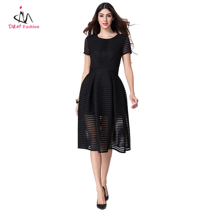 Short Sleeve Fashion Women's Party Casual Pleated Dress China Factory Exported Western Style Lady Black Midi Boutique Dresses