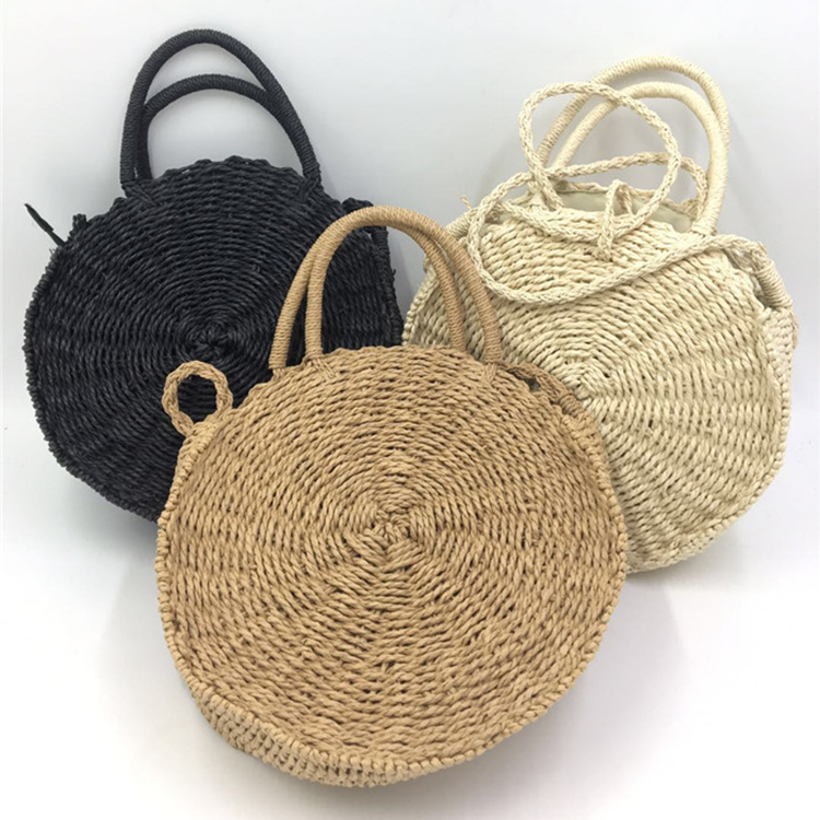 JAKIJAYI brand wholesale summer straw bag tote woman promotional pure color round shape natural paper straw bag