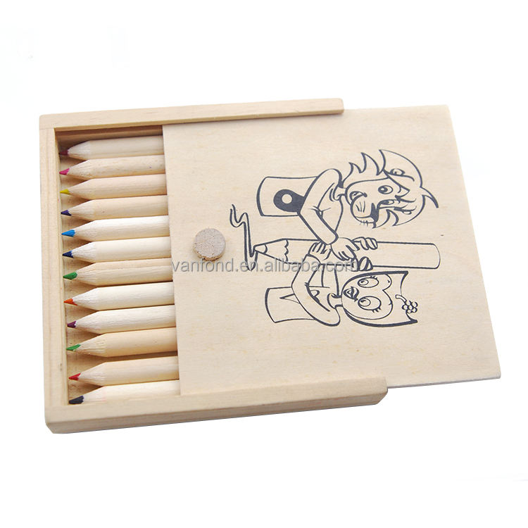 Promotional Recycled Kids School Drawing Stationery Set 12pcs Color Pencil in Wooden Gift Box