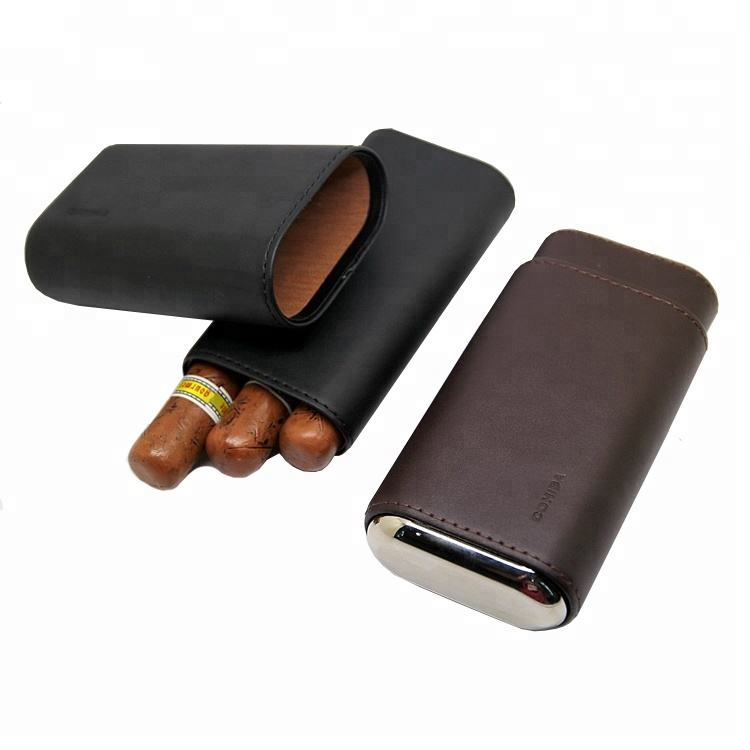 Black Leather Cigar Case with Interior Cedar Lining