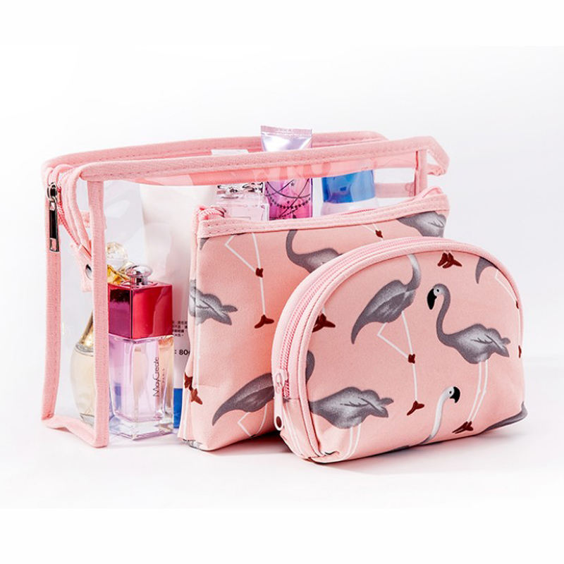 3pcs/set Fashion Cosmetic Bags Waterproof Portable Make Up Bag Women PVC Pouch Travel Toiletry Bag