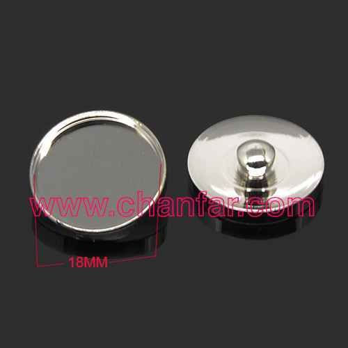 High quality snap button trays ,bezels for 18mm cabochons ,snap button findings jewelry
