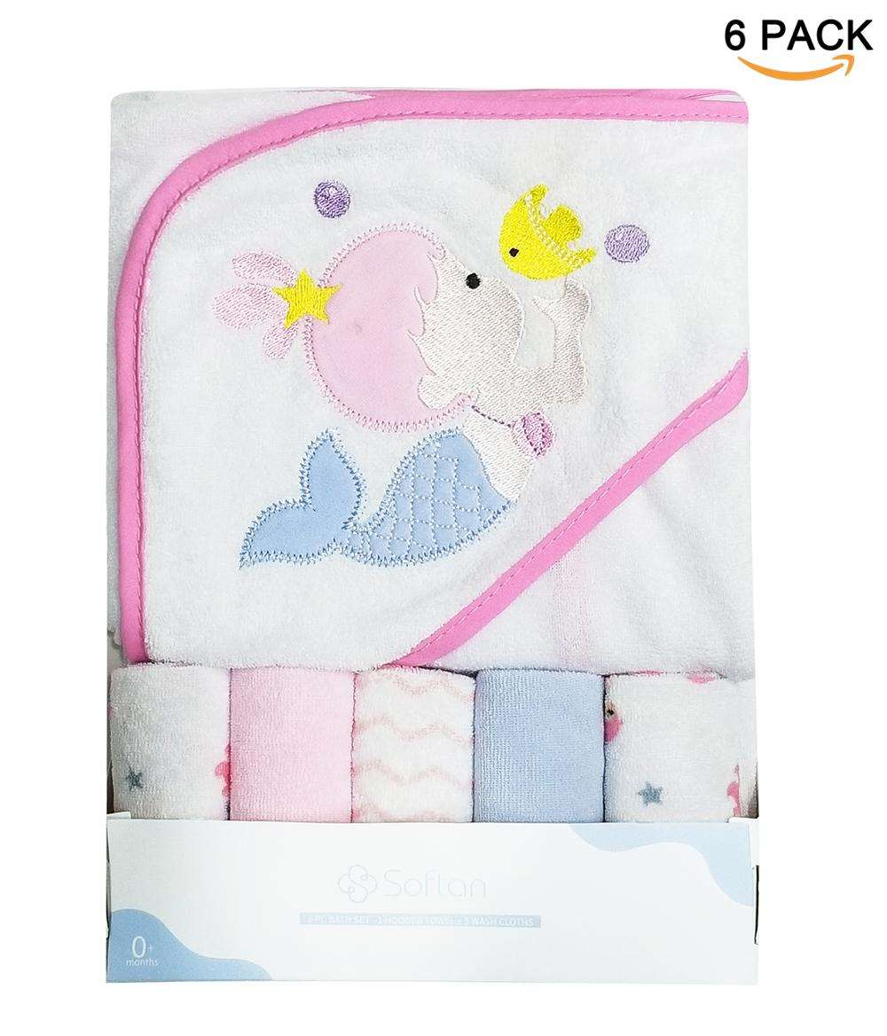 New mermaid pattern printed wholesale 2018 fashion lovely baby square hooded towel