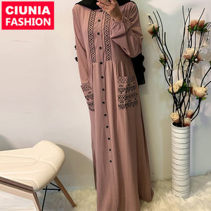 6166# Women Casual Embroidered Buttons With Pockets Long Sleeve Maxi Muslim Dress Islamic Abaya Turkey