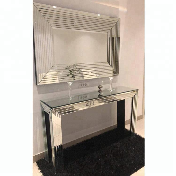 beautiful lines framed mirror match simple high wall console table