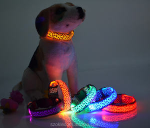 Leopard Pet Collar Nylon Safety LED Collar Colorful Flash Light Luxury dog Necklace For dog