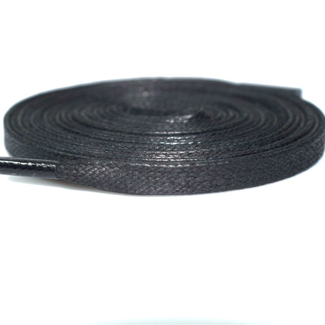Good quality flat shoelaces wax 6mm waxed cotton shoelaces