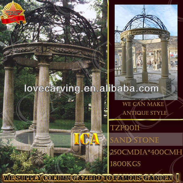 stone gazebo,column gazebo,garden gazebo with iron top TZP0011