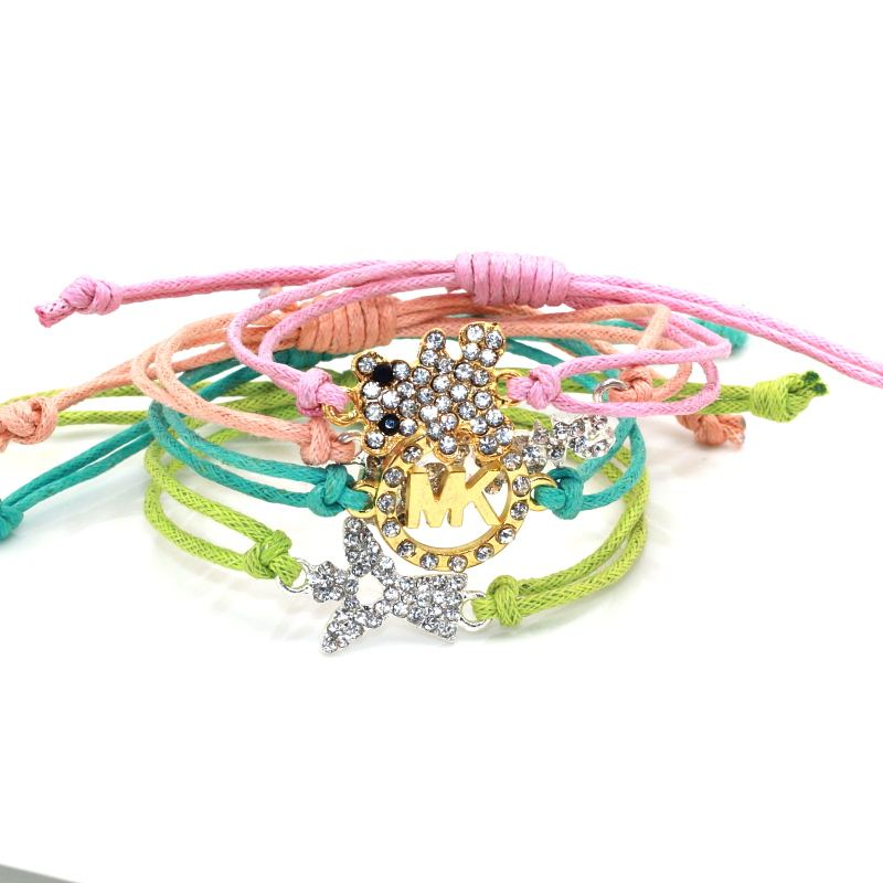 New Arrival bear charm Braided Nylon Cord Bracelets women bracelet wholesale DIY bracelet gift love angel bangel