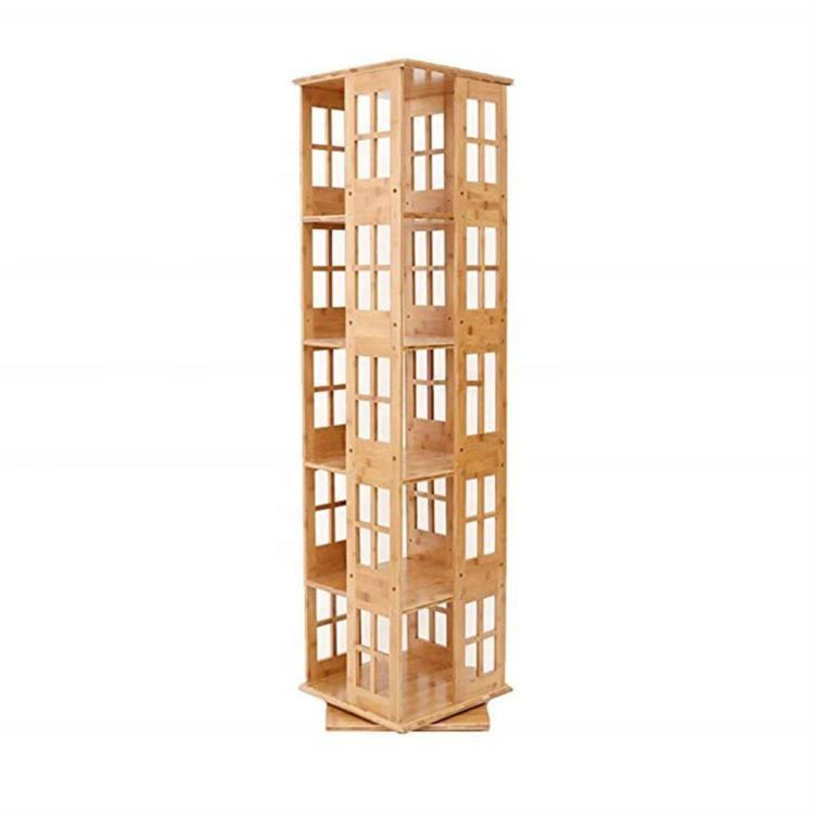 Rotating Bookcase Revolving Wooden Bookcase Bamboo Bookshelf