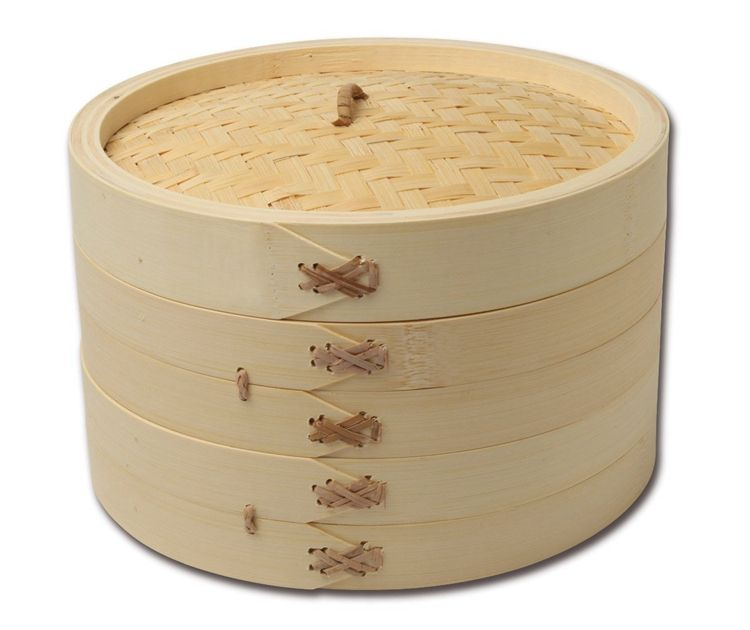 Kitchenware 10 Inch Handmade Bamboo Steamer, 2 Tier Baskets, Healthy Cooking for Vegetables, Dim Sum Dumplings