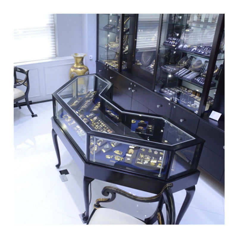 Commercial retail black style glass display cabinet for jewelry