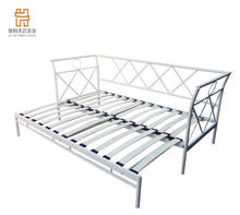 Metal white sofa daybed with pull out bed