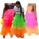 SADF0654 New arrival contrast color tulle material high waist ruffle fashion women long tiered skirt