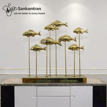 Handmade Metal Stainless Steel Fish Sculpture Table Decor