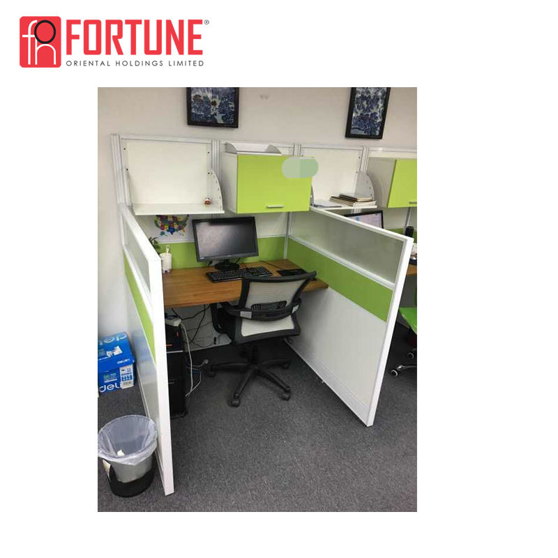 Modern green home office computer desk fabric panel workstation with head cabinet