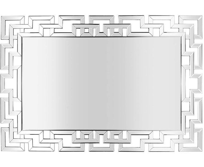 Decorative Wood Back Silver Glass Rectangle Wall Mirror