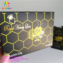 Empty Honey Packaging Mylar Bag and Box