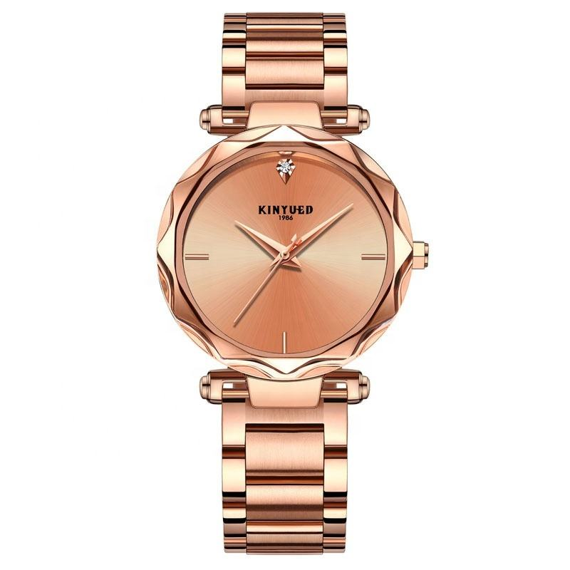 2019 New Coming Korean fashion trend Lady watch solid stainless steel Student Golden Wristwatch Beauty Women Clock