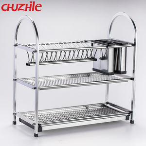 New Kitchen Rack Design 3 Tiers Metal Stainless Steel Dish Drying Rack