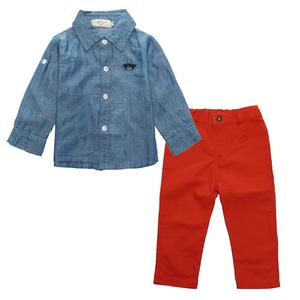 Fall denim shirt baby kids boys boutique clothing boy set suppliers china 2019
