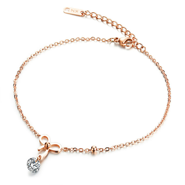 Marlary Fancy New Design Anklet With CZ Charm For Women Stainless Steel Rose Gold Foot Chain Anklet Foot Jewelry