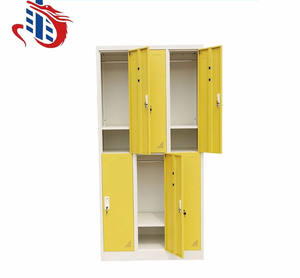 Hot sale metal yellow custom storage clothes wardrobe 6 doors locker steel locker cabinet for office school and gym used