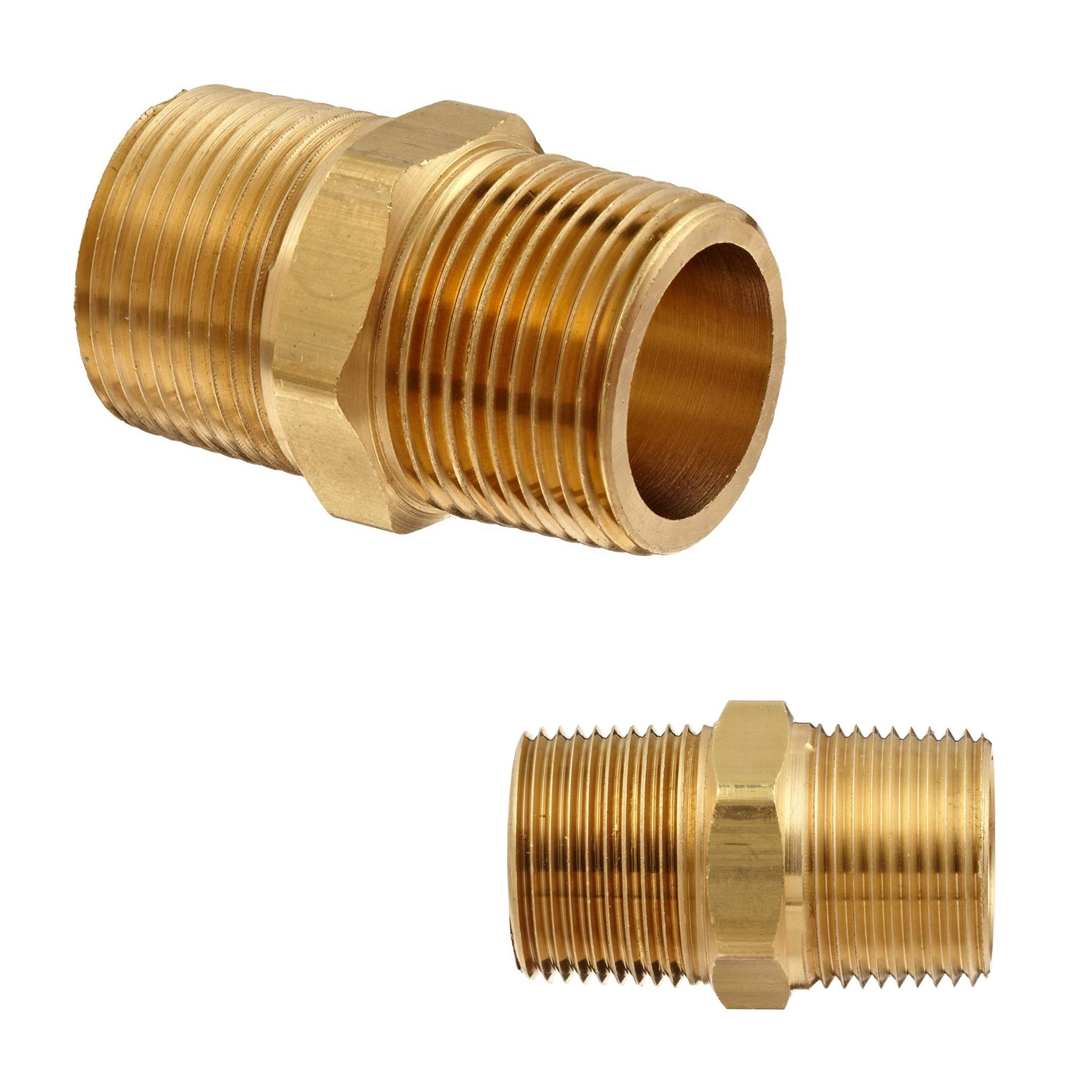 "1/2"" NPT Double Male Hex Nipple Brass Fitting"