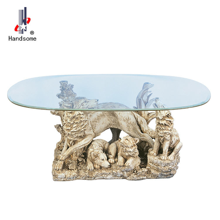 48 Inch Dining Table Wolf Design Glass Table Animal Coffee Table