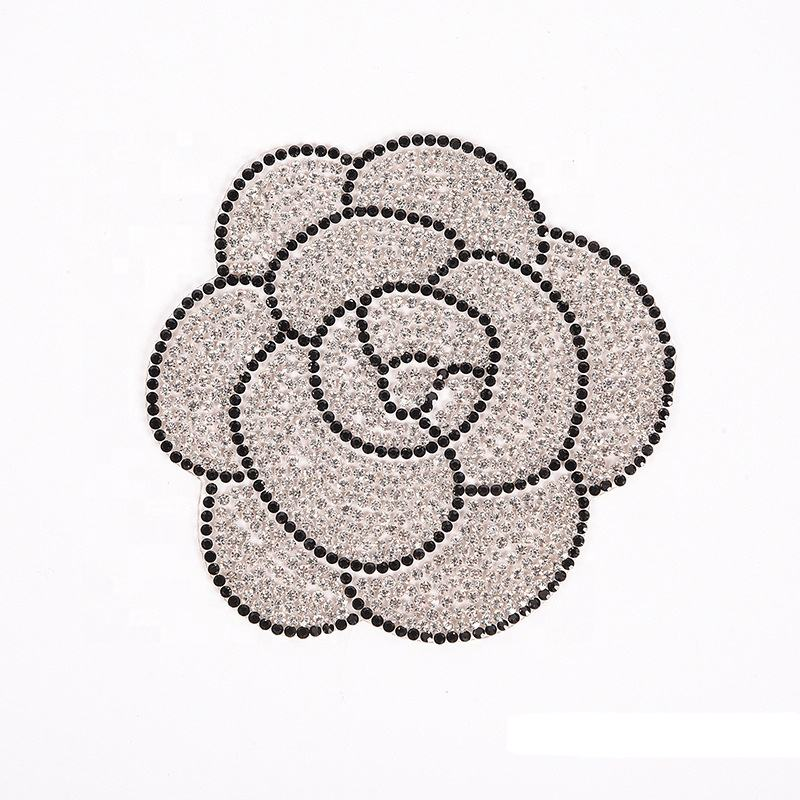 Rhinestone Beaded Flowers Rose Applique Fabric Patches Embroidery For Clothing