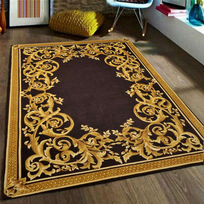 Luxury persian design wool gold living room large rugs carpets handmade