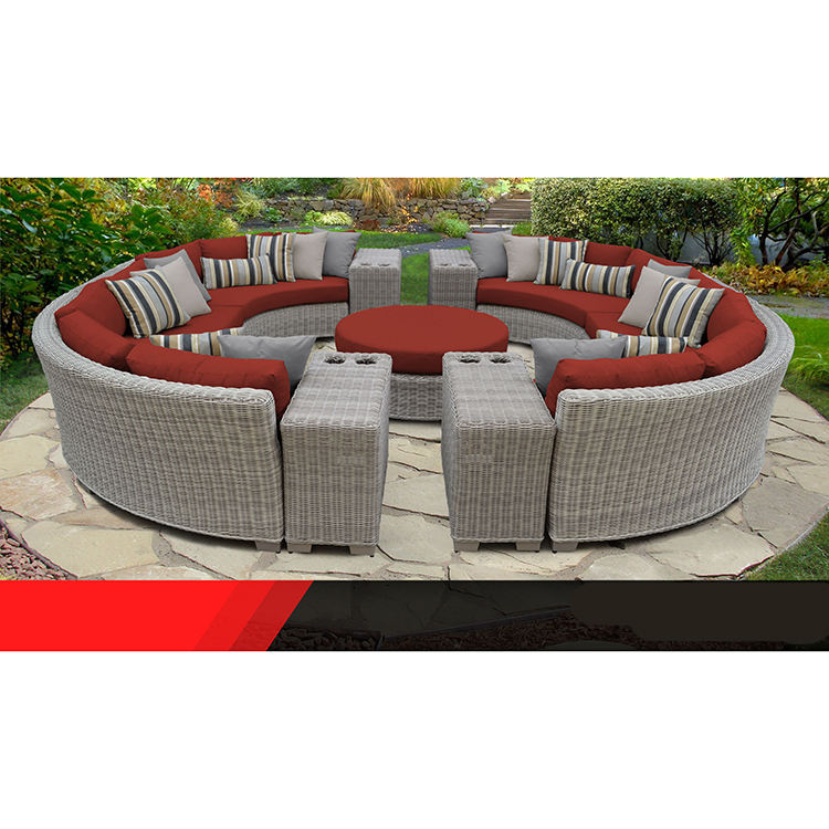 Hot sale modular sofa garden outdoor furniture curved round sectional rattan sofa set