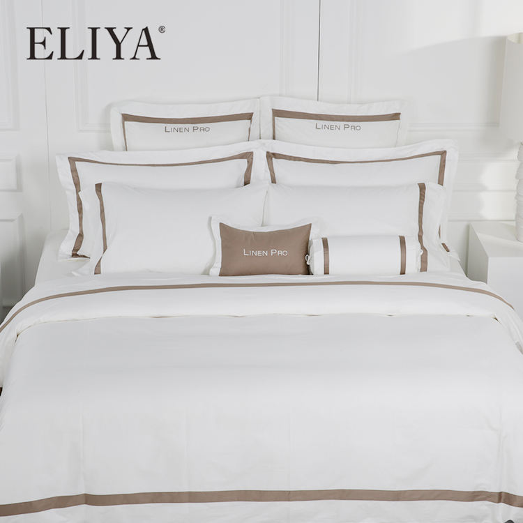 Luxury Wholesale Design Cheap Embroidery Linen Comforter Cover Bed Sheets Hotel Bedsheet Bedding Set