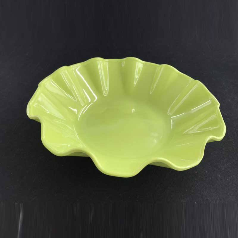 Hot selling melamine 11inch flower shape fruit plate with customized colors