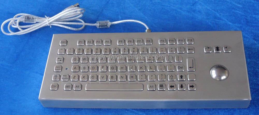 Edelstahl metall-tastatur mit trackball für Industrie-und kioske
